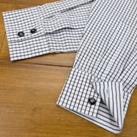 Grenouille Ladies Long Sleeve Black Tattersall Check Easy Care Cotton Shirt